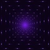 Geistiger Tunnel der purpurroten violetten Neonlaser-Perspektivenzusammenfassung, Veilchen interpunktierte quadratische Linien Lizenzfreie Stockfotografie