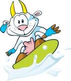 Geit die op de melkgolf surft Stock Foto