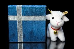 Geit of schapen met giftdoos Stock Fotografie