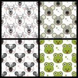 Geitkoala Panda Snake Seamless Stock Afbeeldingen