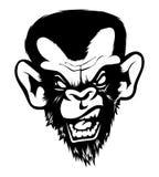 Gek Boos Slecht van de Aapgorila van de Chimpanseeaap de Inkt Zwart Wit stock illustratie