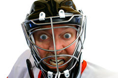 Gek Hockey Goalie Stock Foto's