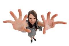 Gek meisje met het grijpen van handen stock foto's