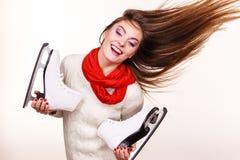 Gek meisje met schaatsen Stock Afbeelding