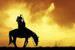 Gek paard bij zonsondergang stock illustratie