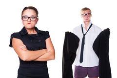 Gek vrouwenwachten tot haar echtgenoot het dragen royalty-vrije stock foto