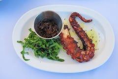 Gekarameliseerde die octopus met uien en greens, op een witte plaat worden gediend Royalty-vrije Stock Afbeeldingen