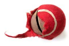 Gekauwde rode bal op een witte achtergrond Hondstuk speelgoed het concept P Stock Foto's