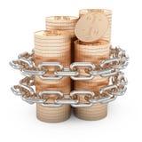 Geketende gouden muntstukken Royalty-vrije Stock Foto's