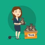 Geketende vrouw met zakkenhoogtepunt van belastingen Stock Afbeeldingen