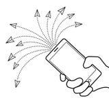 Gekettete Nachricht, die Konzept sendet Illustration der Hand mit smar vektor abbildung