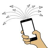 Gekettete Nachricht, die Konzept sendet Illustration der Hand mit smar lizenzfreie abbildung
