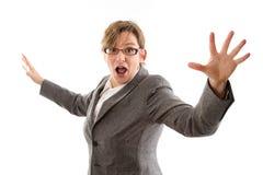 Gekke bedrijfsvrouw - vrouw die op witte achtergrond wordt geïsoleerd Royalty-vrije Stock Foto's