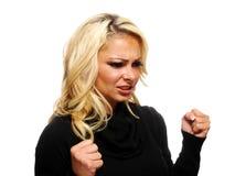 Gekke, boze blonde vrouw Stock Foto