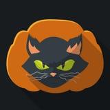 Gekke Cat Face op Pompoensilhouet, Vectorillustratie Royalty-vrije Stock Fotografie