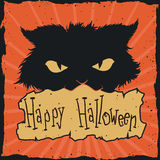 Gekke Cat Halloween Retro Poster, Vectorillustratie Stock Foto's