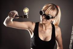 Gekke creatieve vrouw Stock Foto's