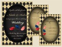 Gekke de uitnodigingsreeks van het theekransjehuwelijk RSVP Dank u kaarden Royalty-vrije Stock Foto
