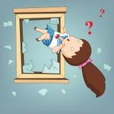 Gekke die student vanaf venster en verwarde emotie, Vect wordt geworpen stock illustratie