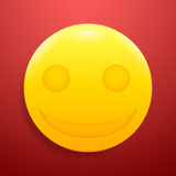Gekke glanzende smiley op geweven, rode achtergrond Royalty-vrije Stock Fotografie