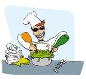 Gekke grafische chef-kok   Royalty-vrije Stock Afbeeldingen