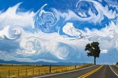 Gekke hemel boven weg met één boom op horizon - olieverfschilderijstijl het digitale schilderen royalty-vrije stock fotografie