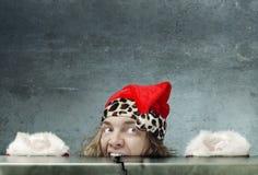 Gekke hongerige Kerstman Stock Foto's