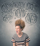 Gekke jonge vrouw met extreme haisrtyle en toespraakbellen Stock Fotografie