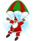Gekke Kerstman skydiver royalty-vrije illustratie