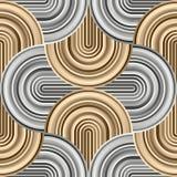 Gekke krommen - verward geometrisch patroon met gouden en zilveren kleuren vector illustratie