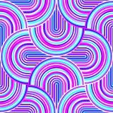 Gekke krommen - verward geometrisch patroon met heldere roze en blauwe kleuren stock illustratie