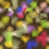 Gekke psychedelische abstracte achtergrond met kleurrijke regenboogplonsen en cirkelkrommen Stock Foto's