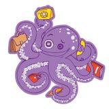 Gekke purpere octopus Stock Foto's