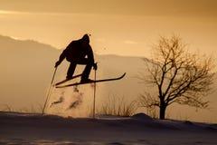 Gekke springende skiër op de wintermiddag Stock Foto