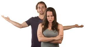 Gekke Vrouw en Gefrustreerde Man Royalty-vrije Stock Foto