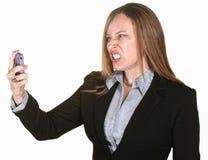 Gekke Vrouw met Telefoon Royalty-vrije Stock Foto