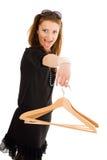 Gekke vrouw op de hanger van de verkoopholding Stock Foto