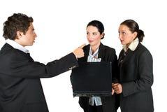 Gekke werkgever met werknemers Stock Fotografie