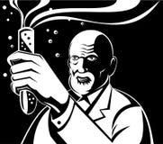 Gekke Wetenschapper die een reageerbuis houdt Stock Afbeelding