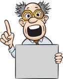 Gekke wetenschapper die vinger met leeg aanplakbiljet richt Stock Afbeeldingen