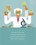 Gekke Wetenschapper - Onderzoek, Biotechnologie Stock Afbeelding