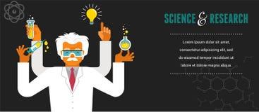 Gekke Wetenschapper - Onderzoek, Biotechnologie vector illustratie