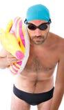 Gekke zwemmer met veiligheids overzeese cirkel Royalty-vrije Stock Foto