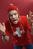 Gekke Zwitserse sportenventilator royalty-vrije stock fotografie