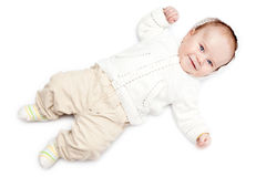 Geklede de jongen van de baby Royalty-vrije Stock Foto's