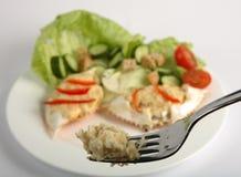 Geklede krab op een vork Stock Foto