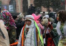 Geklede mensen op Malanka fest. Royalty-vrije Stock Foto