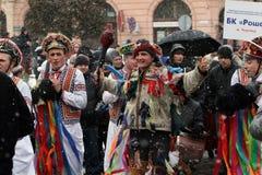 Geklede mensen op Malanka fest. Royalty-vrije Stock Foto's