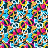 Gekleurd abstract naadloos patroon in de kwaliteits vectorillustratie van de graffitistijl voor uw ontwerp Stock Afbeelding