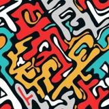 Gekleurd abstract naadloos patroon in graffitistijl kwaliteits vectorillustratie voor uw ontwerp stock illustratie
